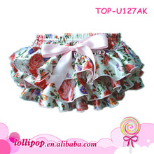 2015 wholesale satin bloomer floral baby diaper cover