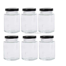 High quality Hexagon Jars Metal Lid glass honey jars, glass jars with plastic lids for jam,honey