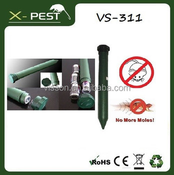 VS-311 Green solar sonic electronic battery powered mole mouse pest repeller for sound and vibration