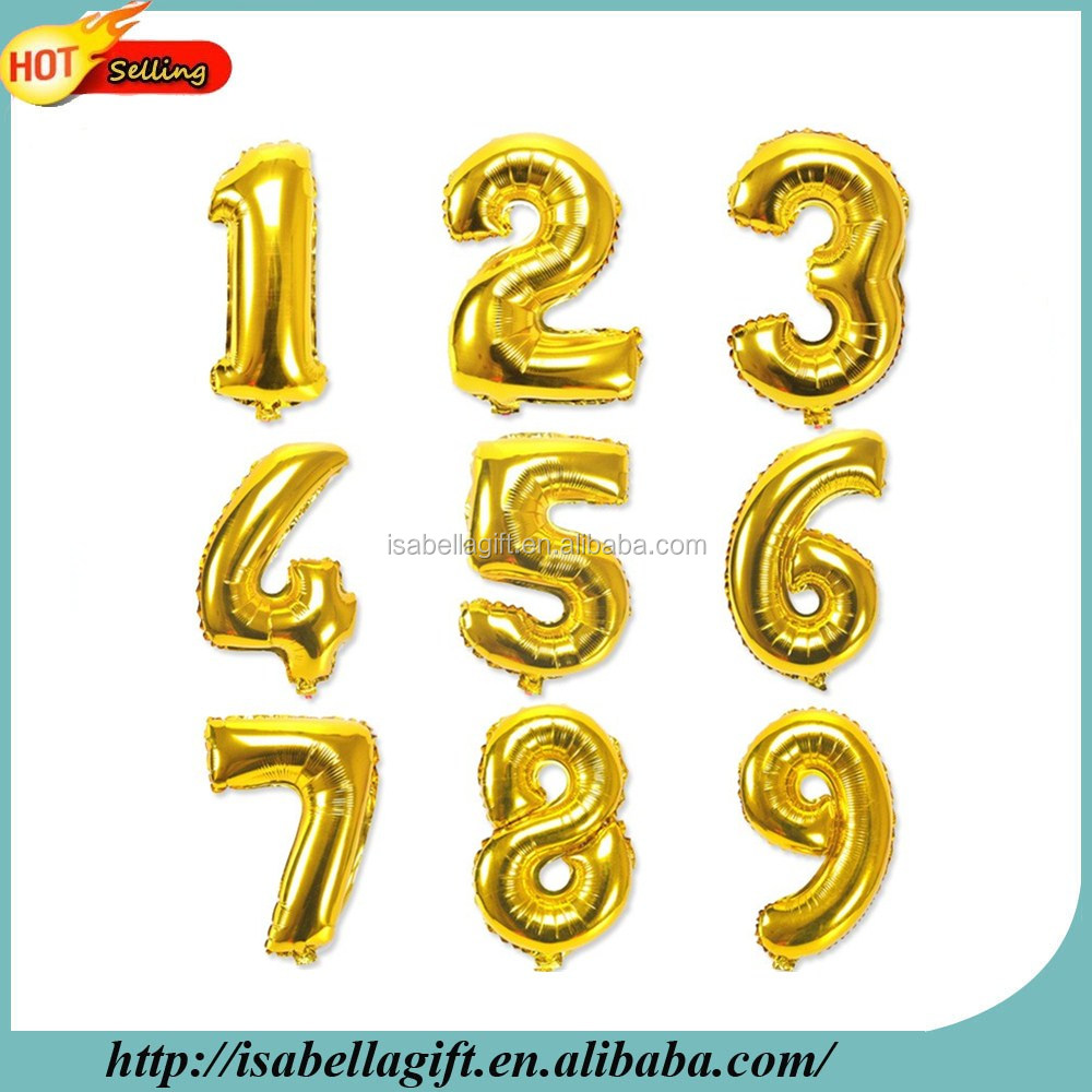 high quality 40 inch number shaped foil balloons, party baloons for decorations
