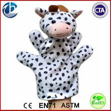 Cheap milk cow plush toys animal shaped cow plush hand puppets,puppet hand