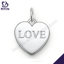 Cheap plain alphabet silver heart charm