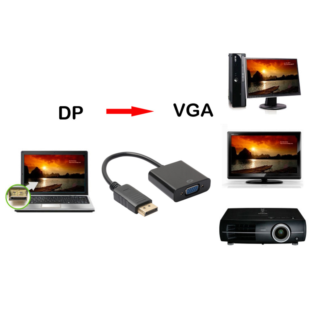 2017 Displayport to VGA Cable Male to Female Video Converter Extension Adapter Cable Adapter for PC DVD HD TV