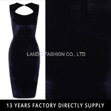Navy Blue All Over Velvet Cut Out Back Sleeveless plus size bodycon bandage dress