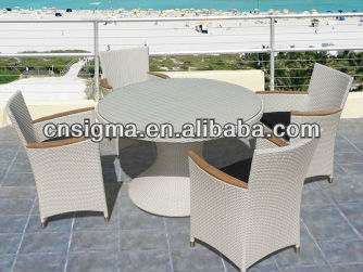 2016 new design rattan malaysia round new style compact dining table set