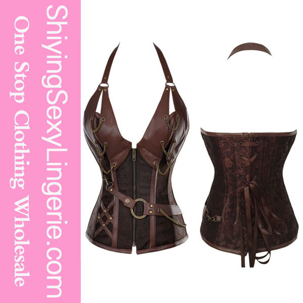 Factory wholesale cheap sexy 14 steel bone steampunk leather corset with thong