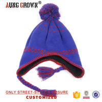 knitted jacquard beanie hat with earflaps pattern