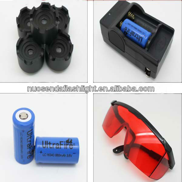 High Power 2000mW 450nm 7.2V LED Blue Laser Pointer+ 2x16340 +1xCharger +1x Goggle+1x Gift Box