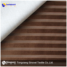 100% polyester cation micro velboabonded TC for sofa stripe fabric for upholstery