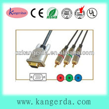 high quality metal shell gold plated vga to 3 rca cable