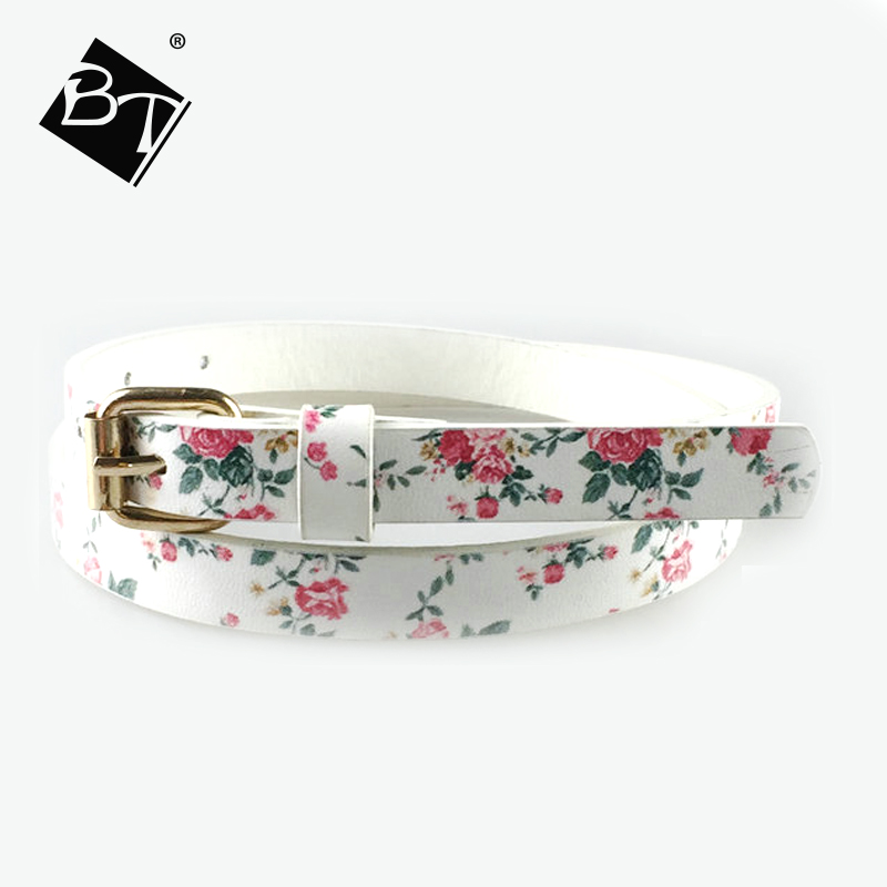 flower printing white girl fashion jean kids belts with golden buckle