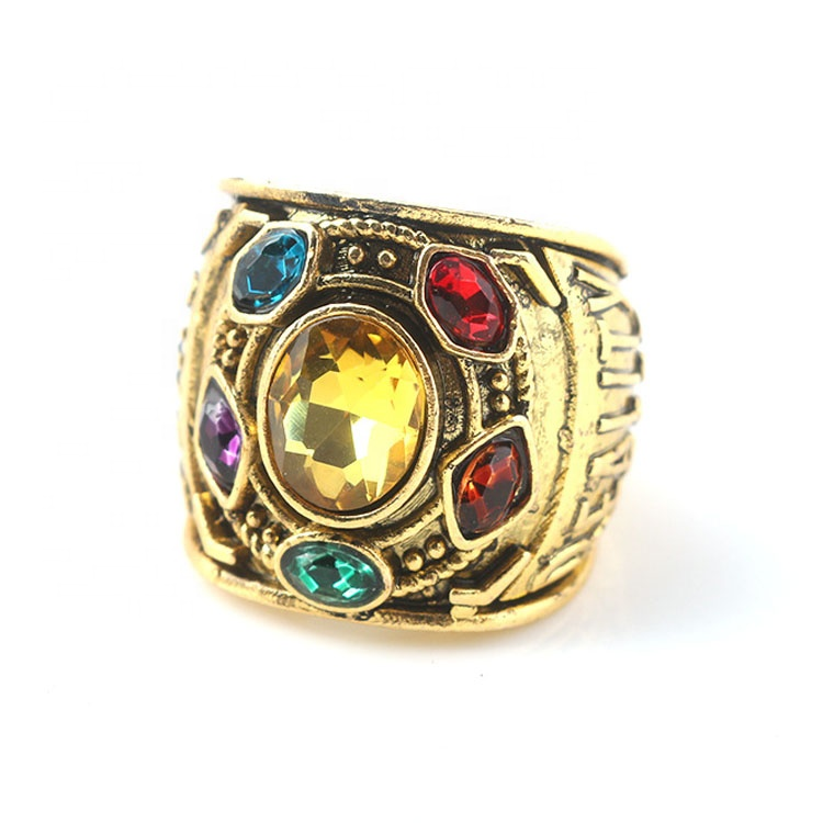 Hot sale gold metal fashion cool men's Marvel Thanos <strong>ring</strong>