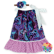 Baby Girl Party Dress Children Frocks Designs Little Girls Party Summer Dresses With Headband Designer Cotton Dresses For Girls