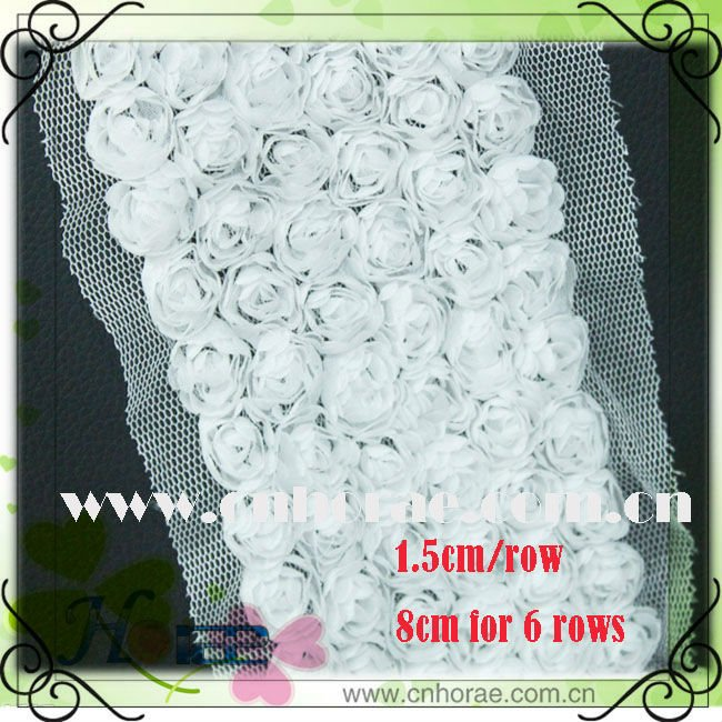6 rows white New chiffon rose flower garment lace designs