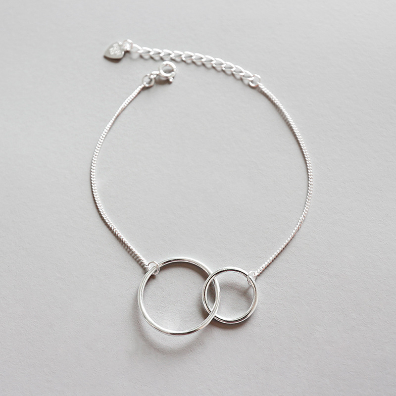 Mothers day 925 sterling silver double circle chain bracelet