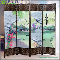 Cheap room partition room screens Elegant Nostalgic European Style Hinged Folding Floor Screen for Hotel Lobby and Hall GVSD011