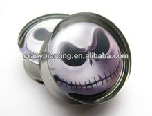 Jack Skellington Nightmare Picture Double Flared Body Ear Tunnel Plug Piercing Stainless Steel Jewelry