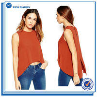 Bare Midriff Crop Top Quality Crew Neck Tank Special Blouse Designs Sleeveless Women Blouse