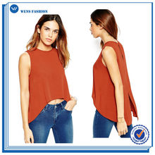 Top Quality Crew Neck Special Blouse Design Sleeveless Womens Blouses