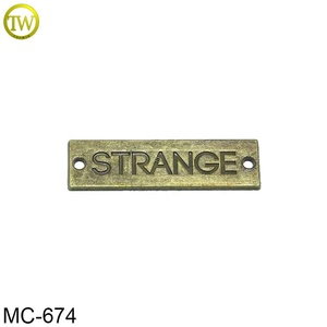 Famous garment brand logos with names embossed metal plate for furniture