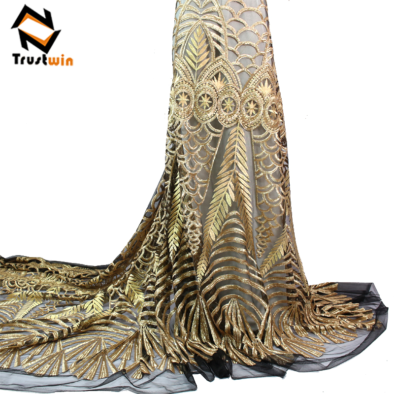 Haute Qualité Tissu Africain avec Paillettes Tulle Lace Dentelle Tissu