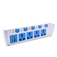 Universal extension socket USB surge and overload protector Spike guard power strip with individual switches