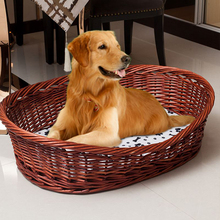 Natural wicker dog baskets willow pet baskets with cushion for sale