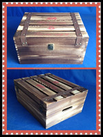 Antique wood crate decorative wine bottle holder wooden wine box with roast color