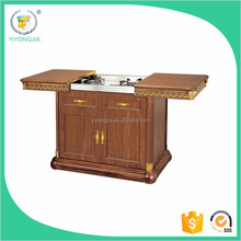 high quality luxury flambe trolley /wooden dining cart