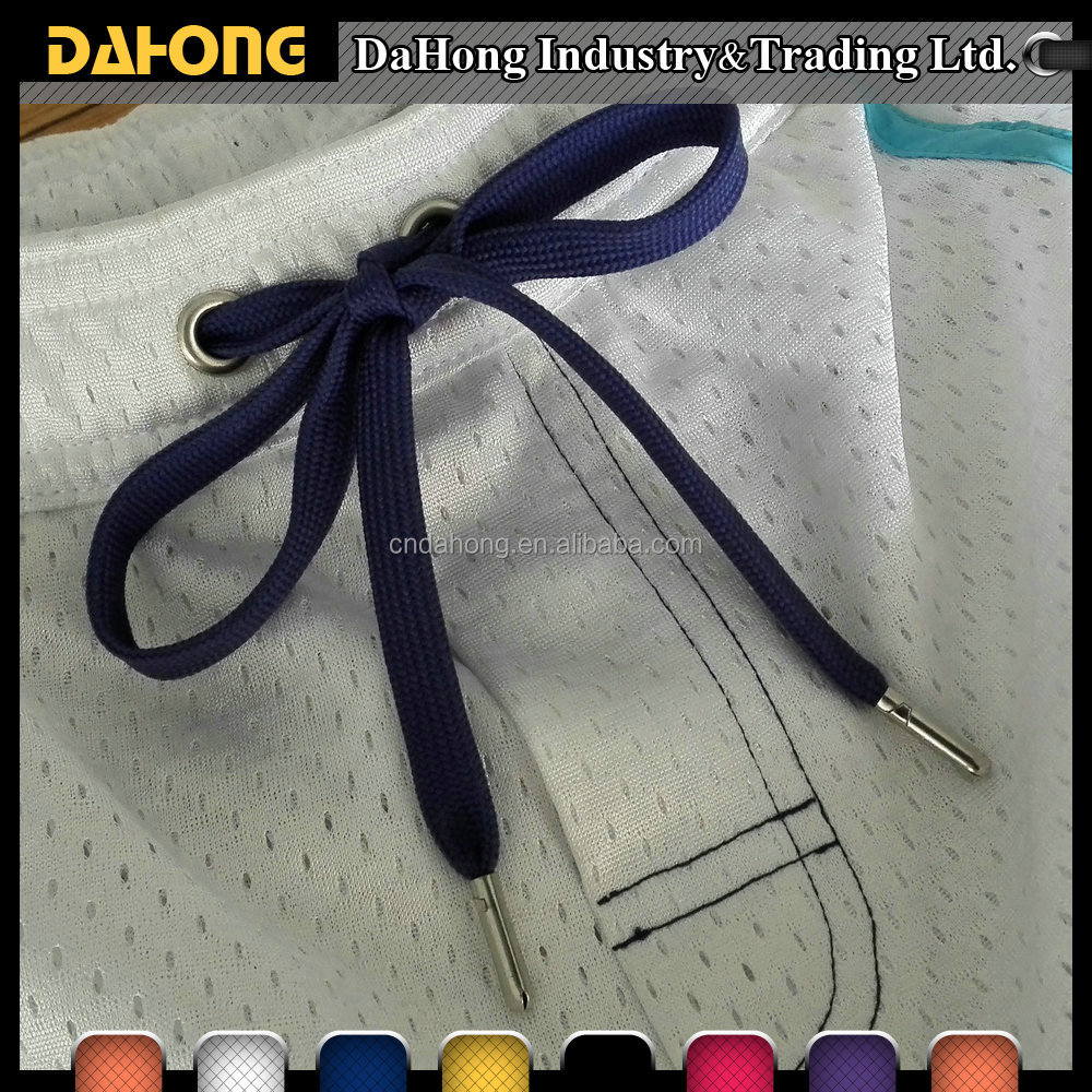 Wholesale polyester flat custom metal end drawstring cord for swimming short