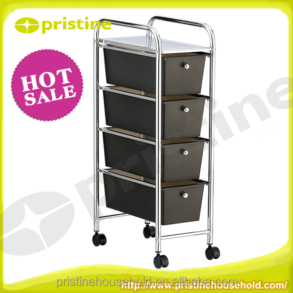 metal storage cabinet colourful plastic 4-tier storage drawer trolley