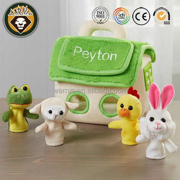 z0053 Embroidered Finger Puppet Friends House soft toys for children