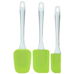Wholesale Non-stick Durable Heat Resistant And BPA Free Flexible 3-Piece clear handle Silicone Spatula Set