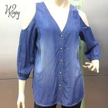 V neck cold shoulder tencel loose casual sexy top denim fashion woman shirt