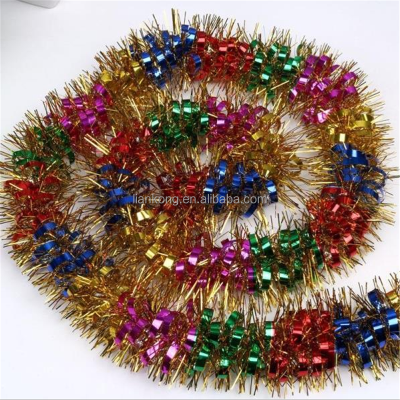 2017 Best seling colorful leaves machine christmas tree decorations tinsel garland