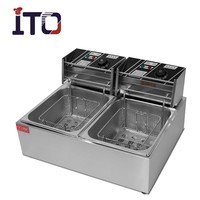 CI-82 Table Counter Top Automatic Commercial Stainless Steel Electric Deep Fryer for Sale (2 Tank,2 Basket)
