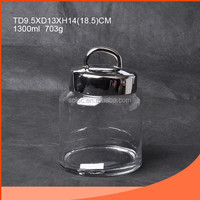 Crystal Glass Candy Jar with Metal Lid