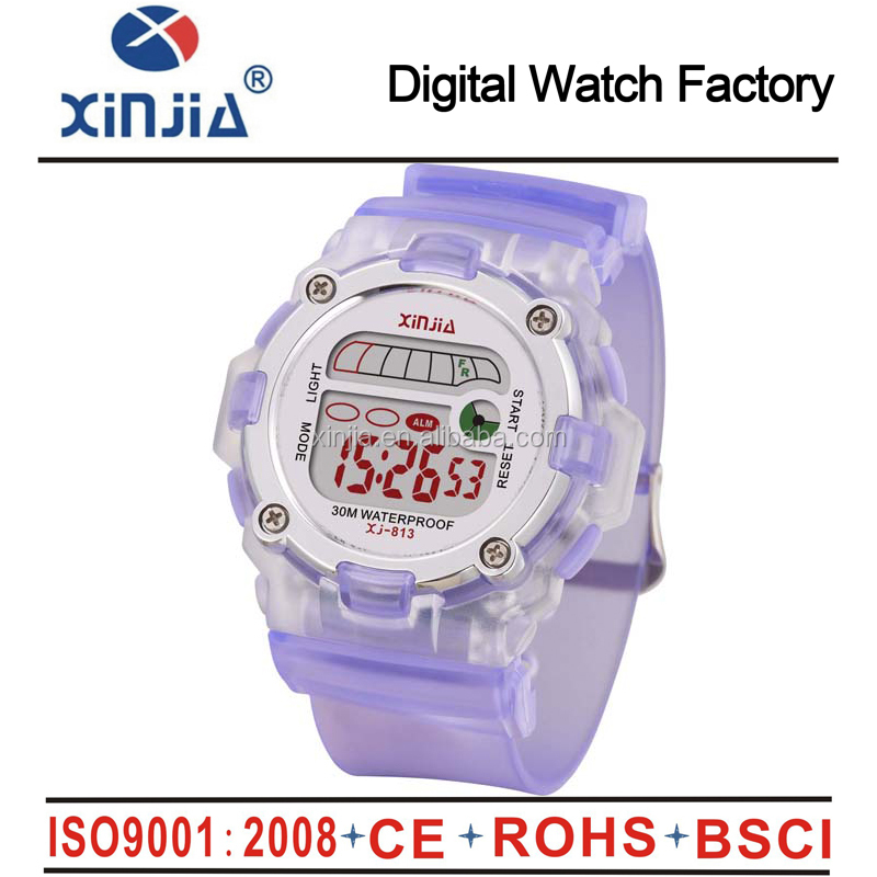 2014 vogue plastic water resistant 3 atm lady style sport plastic digital watch for girl