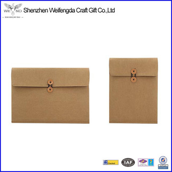2017 new style washed kraft paper document case A4 size envelope document case china supplier