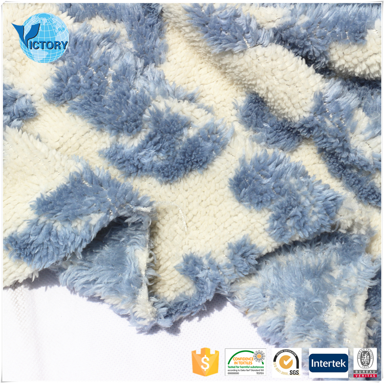 Practical Sofa Fabric Weft Knitted Double Sides Sherpa Jacquard Upholstery Fabric