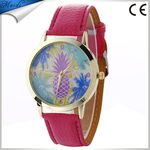 Fashion Pineapple Pattern Leather Band Analog Quartz Vogue Wrist Watch 2017 New Arrival Cheap Wholesale Watches Hot LW074
