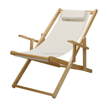 Adjustable Wood Foldable Deck Chair Nature Frame, Natural Canvas