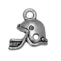 Sports Zinc Alloy Antique Silver Plated Mini American Football Helmet Charms