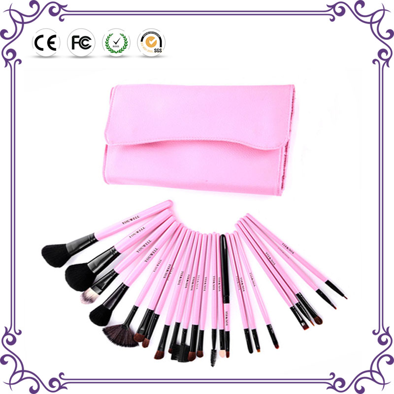 Hot 2017 classic high quality professional vegan 23pcs make up brushes Pink Cosmetic Makeup Brushes set Wholesale