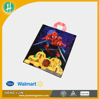 2016 Spiderman Logo Printed Flexi Soft Loop Shopping Plastic Bag With Stong Handle