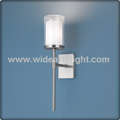 UL CUL Modern Two Layer Glass Shade Wall Mounted Hotel Lamp In Nickle Finish For Bathroom W50107