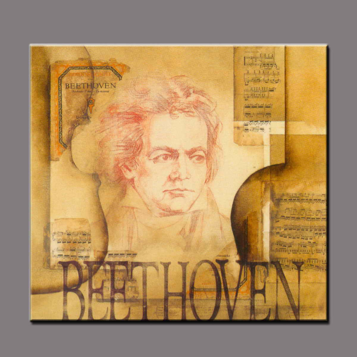 High quality pure hand-painted abstract oil painting famous people portrait Beethoven