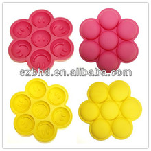 Colorful Flexible Food Grade Silicone Smiling Face Ice Cube Tray