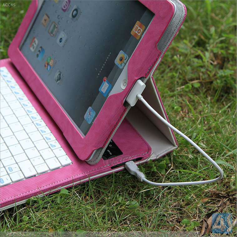 New arriving detachable Wireless Bluetooth Keyboard Slim case cover for the ipad 2/3/4 with battery