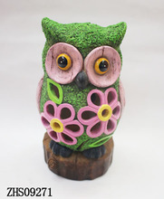 Garden Solar Power Owl Resin Owl Figurine Statue with good quality